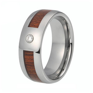 8mm Silver Polished Tungsten Carbide with Wood Inlay and White Crystal Gem Stone Ring