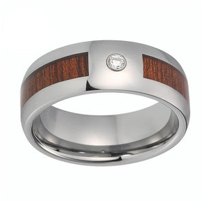 8mm Silver Polished Tungsten Carbide with Wood Inlay and White Crystal Gem Stone Ring - Innovato Store