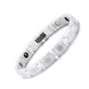 Sleek White Ceramic Magnetic and Hematite Bracelet