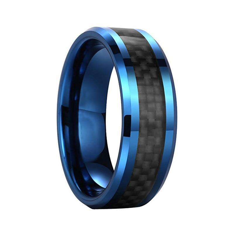 8mm Blue Coated Tungsten Carbide with Elegant Black Basket Weave Pattern Inlay Ring - Innovato Store