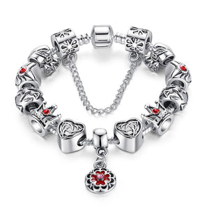 Charm Bracelet with Flower, Royal Crown and Heart