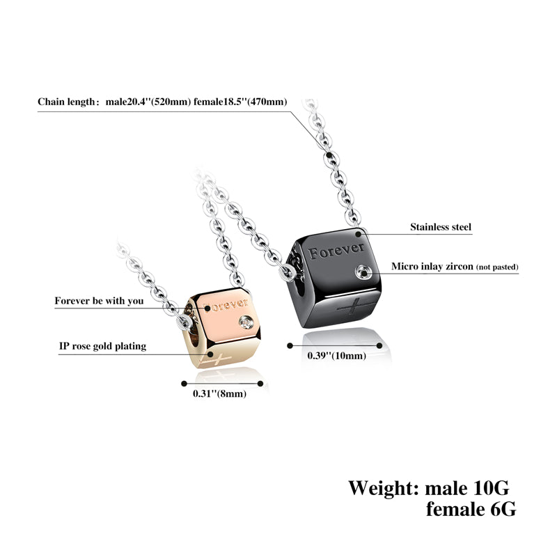 Black and Rose Gold Square Pendant Necklace