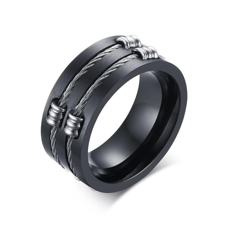 Black Titanium Ring with Double Groove and Wire Cable with Clip wedding Band - Innovato Store