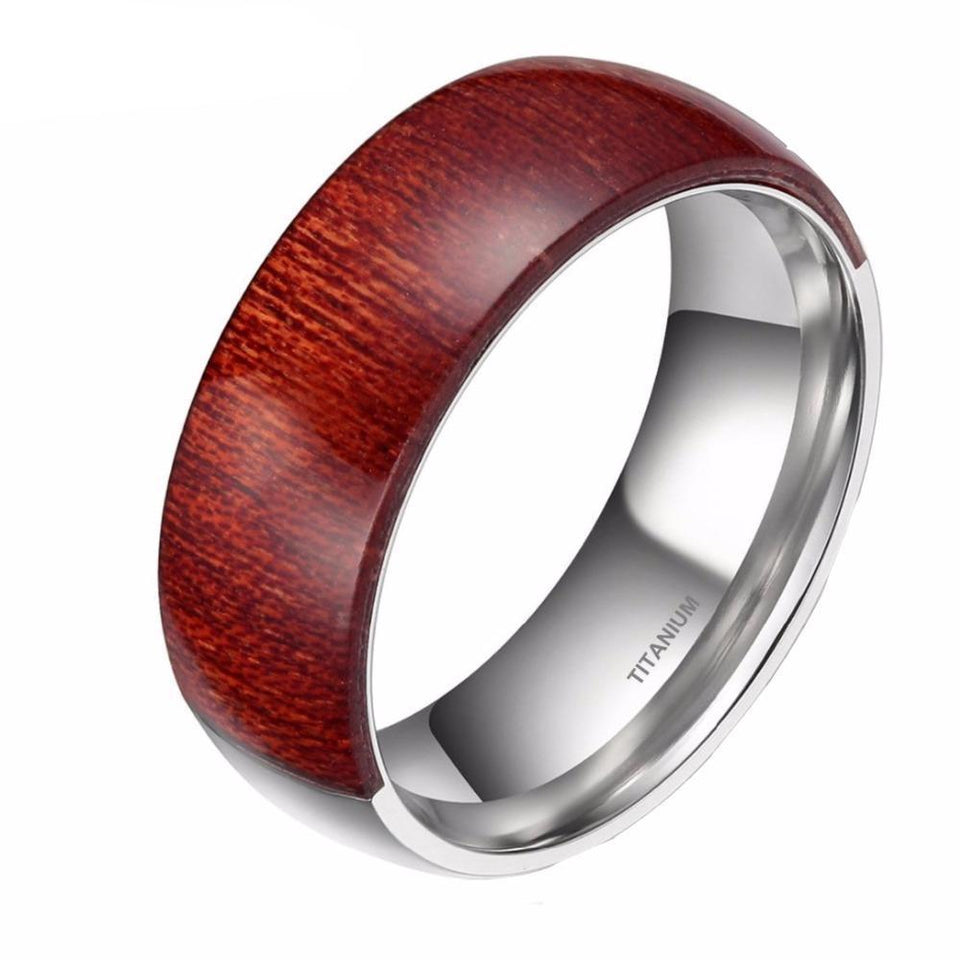 Unisex 8mm Half Titanium Silver Color Inside Ring for Men with Brown Wood Inlay Decoration