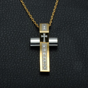 Gold and Silver Murano Glass Cross Pendant Necklace Christian Jewelry