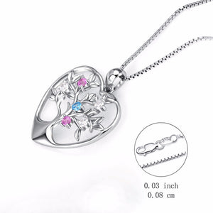 925 Sterling Silver with Colorful Cubic Zirconia Tree Of Life Pendant