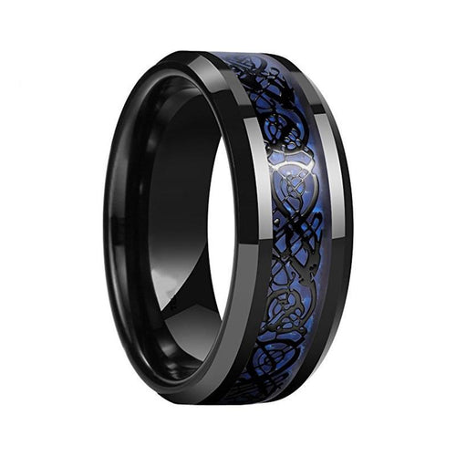 Dragon Design Men's 8mm Blue Comfort fit Wedding Band Engagement Ring - Innovato Store