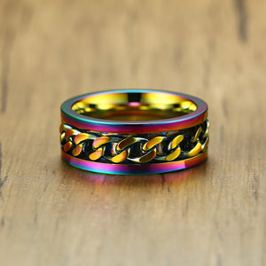 8mm Unisex Rainbow Color Gold Plated Stainless Steel Ring - Innovato Store