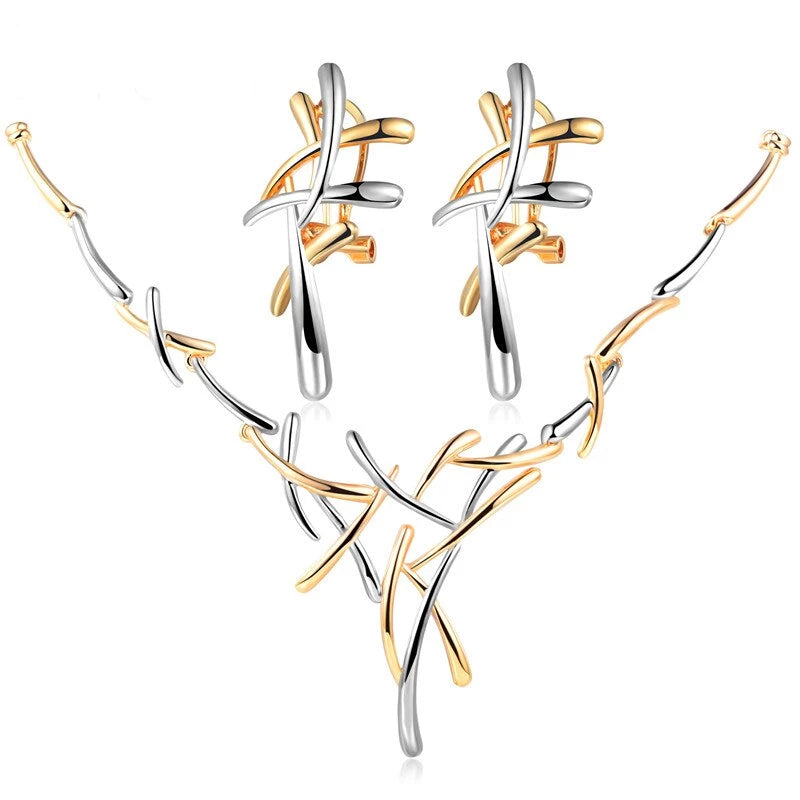 Innovato's Silver and Gold Statement Necklace and Earrings Set