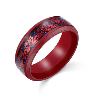 Men's Stainless Steel Red & Blue Tone Dragon Inlay Ring