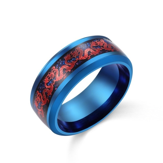 Men's Stainless Steel Red & Blue Tone Dragon Inlay Ring - Innovato Store