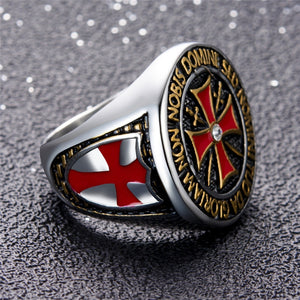 Antique Stainless Steel with Silver, Black and Red Tone Detailing Unisex Knight Templar Cross Wedding Band - Innovato Store