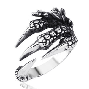 Silver Tone Copper Gothic Ring for Women and Men with Dragon Claw Design and Dragon Skin Pattern