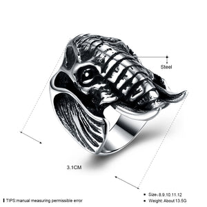 Titanium Elephant Head Ring for Men and Women