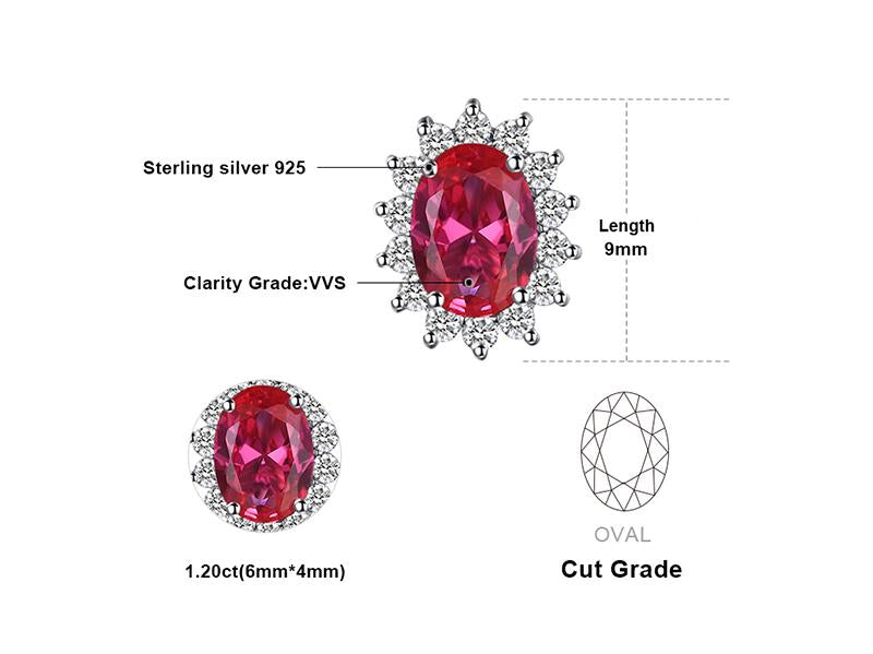 1.5ct Red Created Ruby Stud Earrings 925 Sterling Silver - Innovato Store
