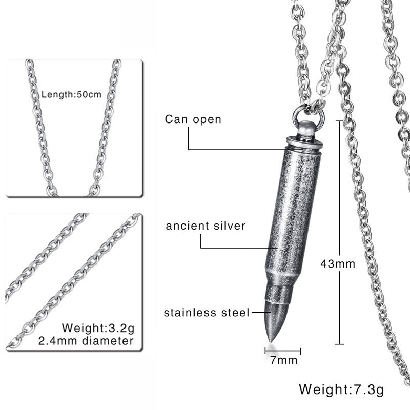 Men's Stainless Steel Silver Plated Bullet Pendant Memorial Necklace