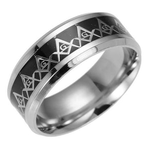 Silver Coated Stainless Steel with Black Carbon Fiber Inlay and Elegant Masonic Ring