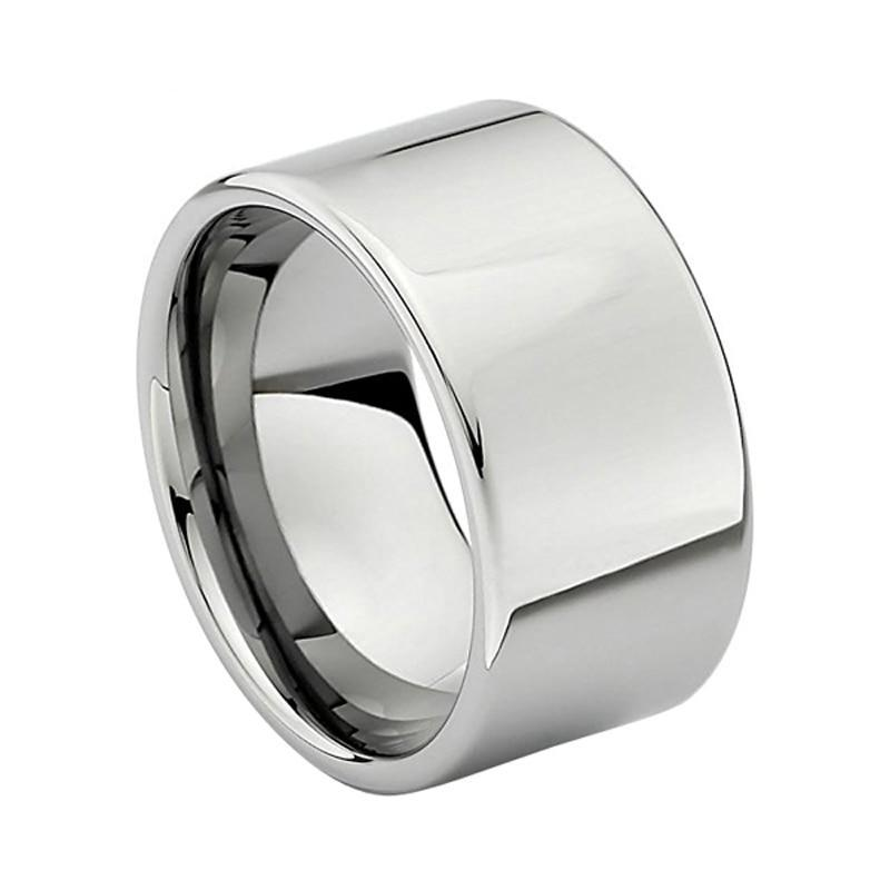 12mm Large Men Silver Plater Tungsten Wedding Engagement Band - Innovato Store