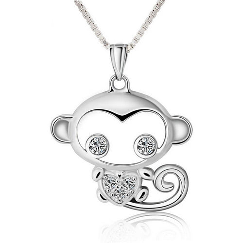925 Sterling Silver Monkey with Cubic Zirconia Pendant Necklace Women's Jewelry