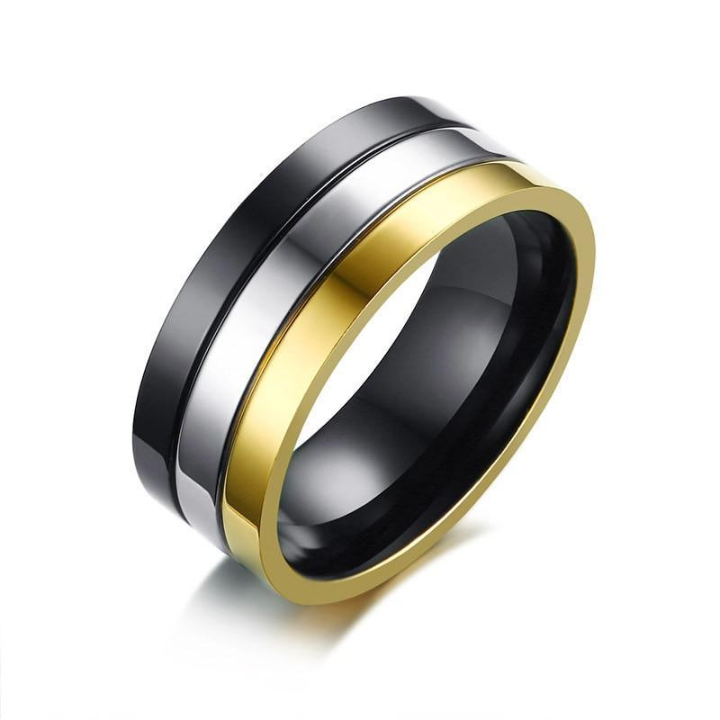 Three-In-One Black Silver Gold Plated Stainless Steel Ring