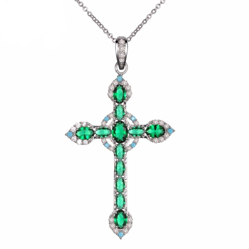Rhodium Plated Cross Pendant with Cubic Zirconia Pendant Necklace