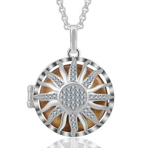 Sun with Crystals Aromatherapy Locket Pendant Necklace