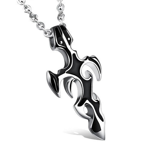 Stainless Steel Black Gun Plated Cross Pendant Necklace