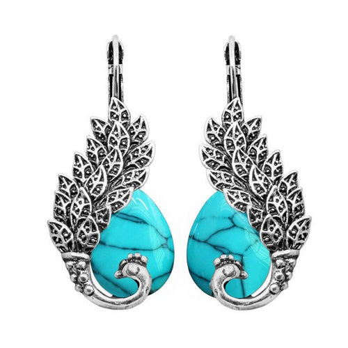 Silver and Opal Stone Peacock Cuff Earrings For Women