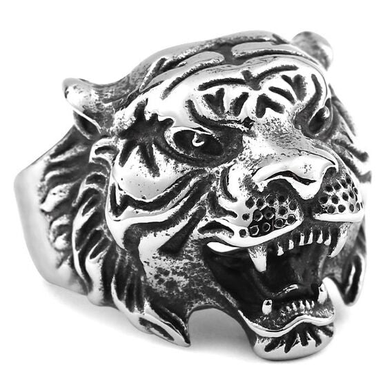 Tiger Head Stainless Steel Ring