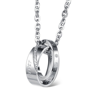Dual Rings with Cubic Zirconia Couple Pendant Necklaces