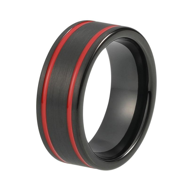 Two Red Groove Strip and Brushed Matte Black Tungsten Carbide Wedding Ring
