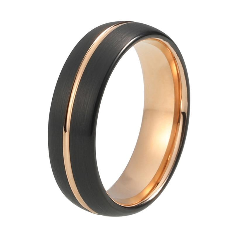 Black Brushed Tungsten Surface with and Rose Gold Plated Tungsten Grooved Wedding Band - Innovato Store