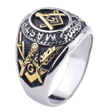 20mm Black Plated Stainless Steel Dome Shaped Patterned Imprints Masonic Men's Ring - Innovato Store