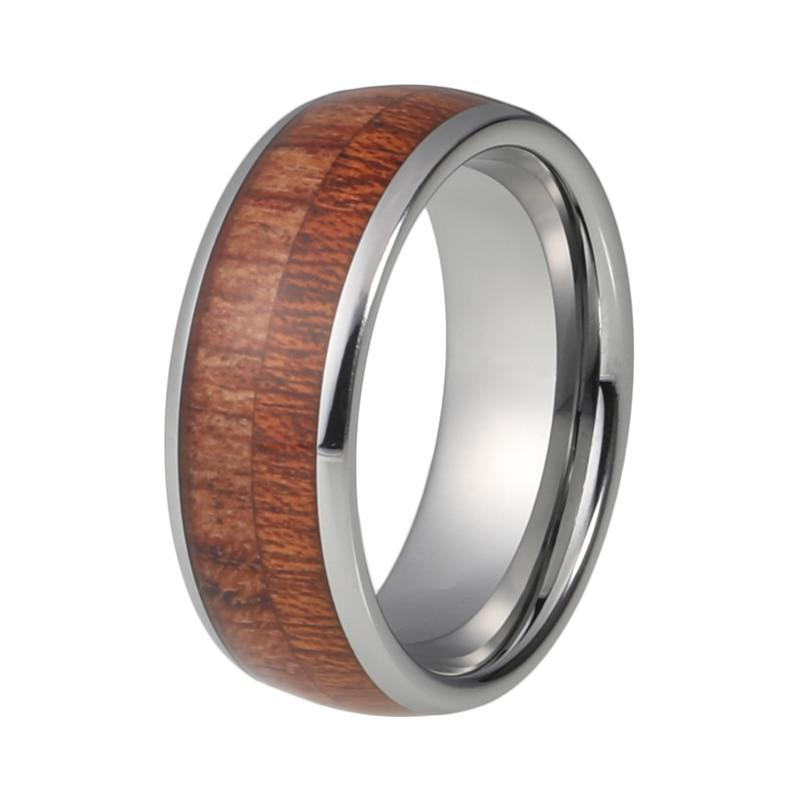 8mm Stainless Steel Wood Ring with Grooved and Brushed Finish - Innovato Store