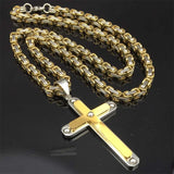 Gold Cross 316L Stainless Steel Byzantine Chain Pendant Necklace