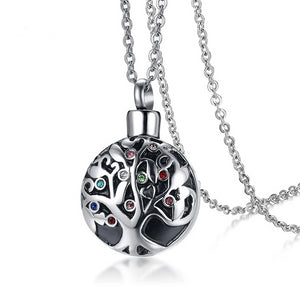 Round Tree of Life Cremation Pendant Memorial Necklace