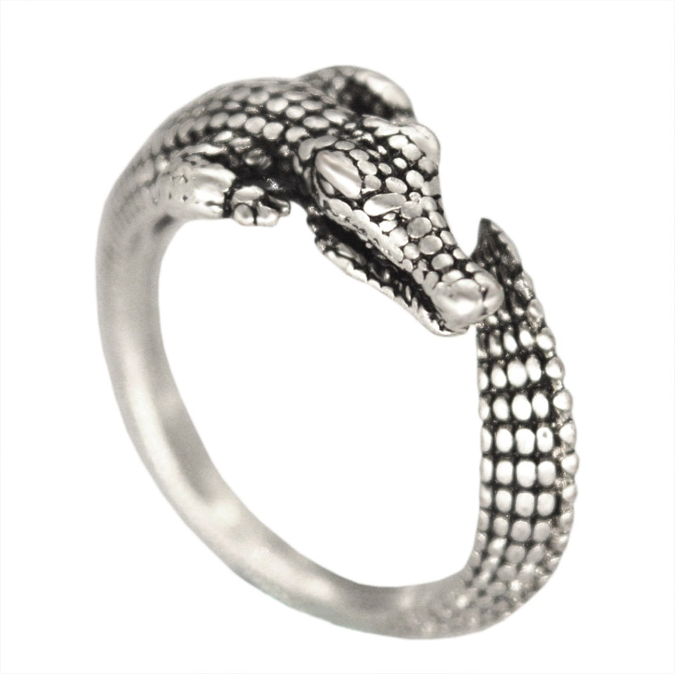 Adjustable Antique Wild Alligator Ring for Men