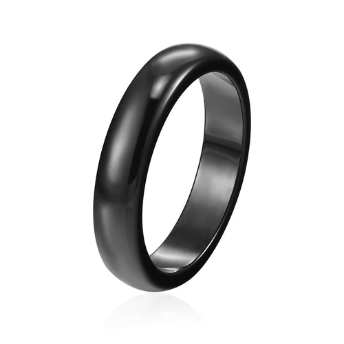 4mm Black Ceramic Ring for Woman or Men with Gloss Finish Smooth Surface and Beveled Edges - Innovato Store