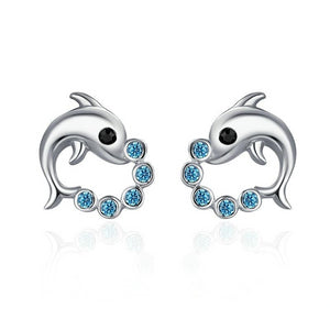 925 Sterling Silver with Cubic Zirconia Dolphin Earrings Women's Jewelry - Innovato Store
