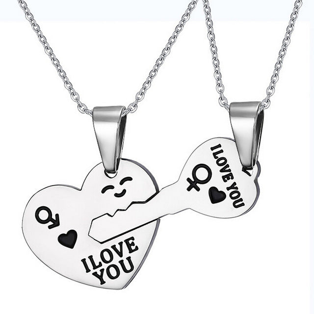 316L Stainless Steel Joint Heart and Key I Love You Pendant Necklace