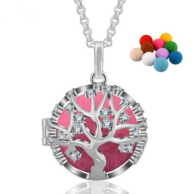 Tree of Life Rhinestone Crystal Aromatherapy Locket Pendant Necklace
