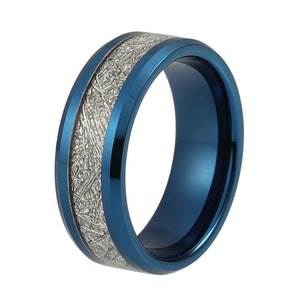 8mm Blue Tungsten Carbide Ring with Meteorite Inlay for Men and Women - Innovato Store