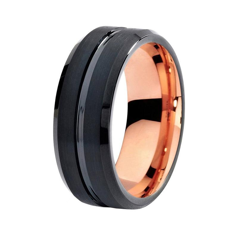 Unisex Two-Tone Black and Rose Colored Tungsten Carbide and Black Brushed Center