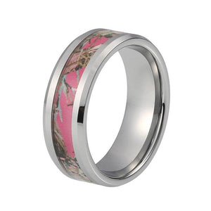 8mm Beautiful Graffiti Art Design Carbon Fiber Inlay with Silver Coated Tungsten Rings - Innovato Store