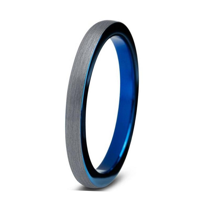3mm Men's Cool Blue Tungsten Carbide Interior with Brushed Black Tungsten Wedding Band - Innovato Store