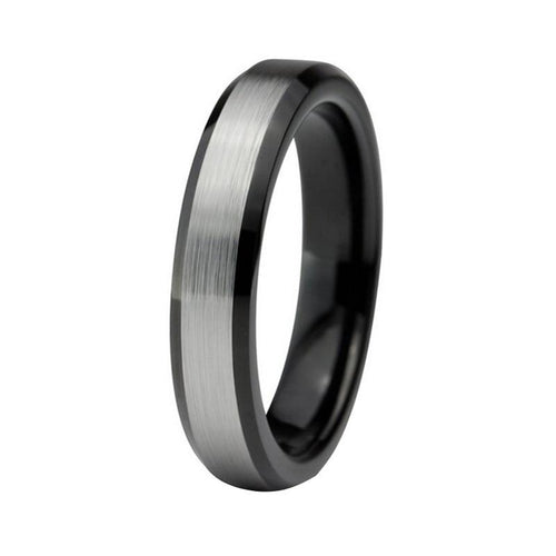 4mm Silver Brushed Matte Blacked Coated Tungsten Carbide Wedding Ring - Innovato Store