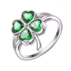 Lucky Four Leaf Clovers with Green Cubic Zirconia Engagement Ring