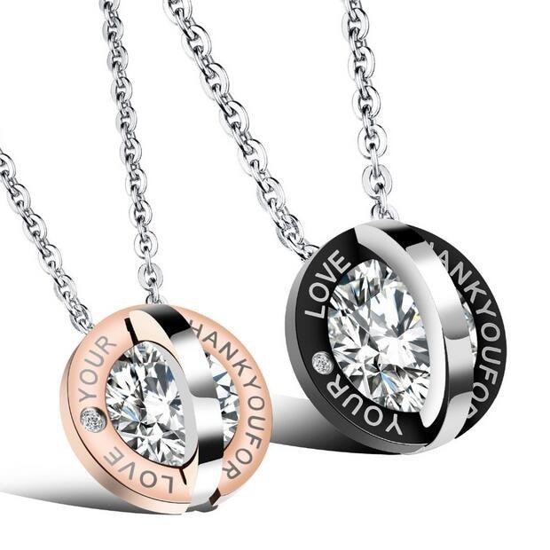Double Round Inlaid Cubic Zirconia Lovers' Pendant Necklace