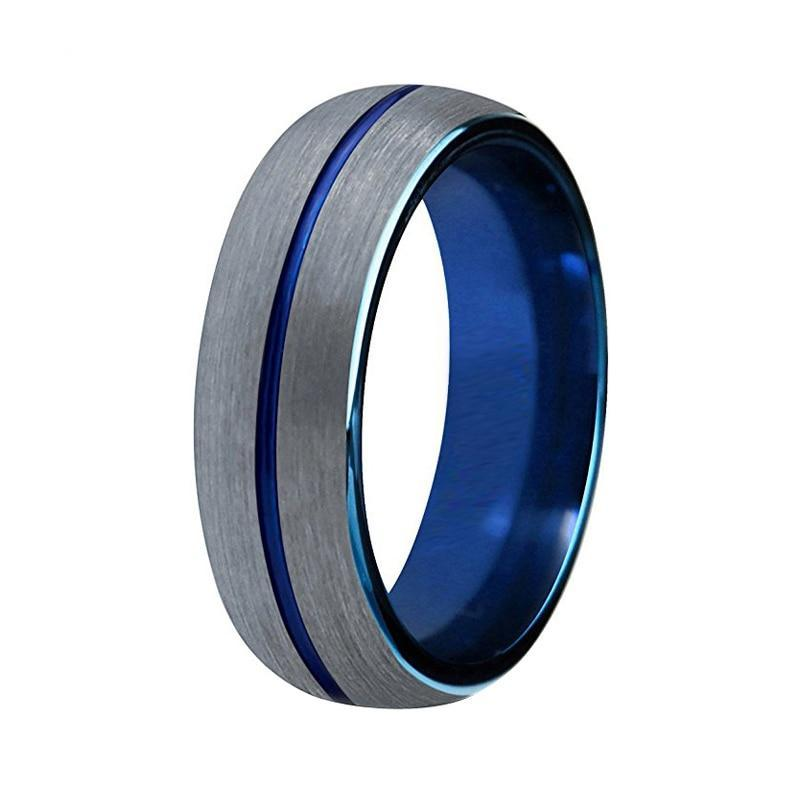 Two Tone Blue Plated Grooved Center Silver Brushed Top Unisex Tungsten Carbide Ring