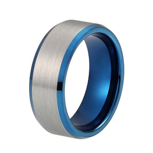 8mm Blue Inner with Silver Brushed Matte Blue Tungsten Carbide Ring
